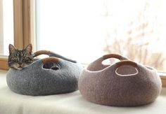 This woolen cat bed that adds some character to a room! | 18 Cat Products That Won't Cramp Your Home's Style