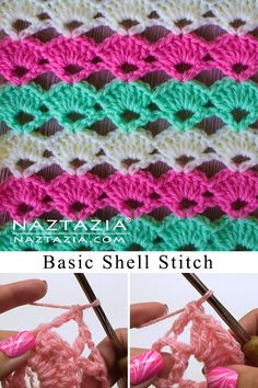 Here's a basic crochet shell stitch pattern with a nice lace effect. It's a relatively simple stitch that works nice for a blanket, scarf, shawl, and more. Crochet Shell Pattern, Crochet Shell Stitch, Crochet Beanie Pattern, Crotchet Stitches, Crochet Stitches Patterns, Crochet Blanket Patterns, Stitch Patterns, Chunky Crochet, Knit Or Crochet