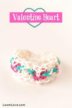 How to Make a Rainbow Loom Valentine Heart Bracelet