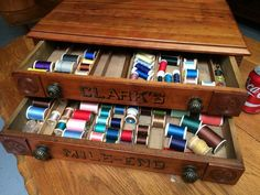 Vintage Clark's Mile End Spool Cabinet with Spools