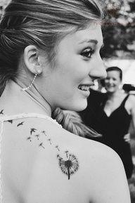 Smiling Girl Have Dandelion Tattoo