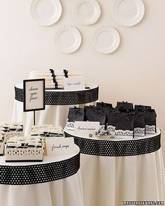Black and White Wedding Motif Soaps tied with dainty lace, candles bundled with eyelet ribbon, and doily-trimmed paper bags all reflect the black-and-white palette. Wedding Favours, Wedding Themes, Diy Wedding, Wedding Colors, Wedding Ideas, Party Favors, Wedding Stuff, Wedding Decorations, Wedding Pics