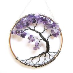 Amethyst Wire Tree of Life Wall Hanging, Purple Bonsai Sun Catcher - Small