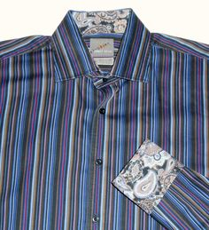 THOMAS DEAN Button Front Striped Shirt Paisley Flip Cuffs XL EXTRA LARGE L/S #ThomasDean #ButtonFront