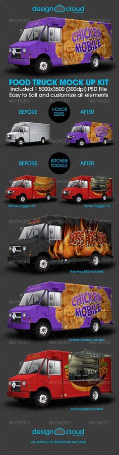 Food Truck Mock Up Kit - Vehicle Wraps Print Más