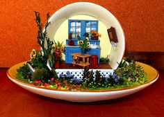 OOAK Miniature Scene in a Tea Cup by OOAKMiniatures on Etsy, $120.00