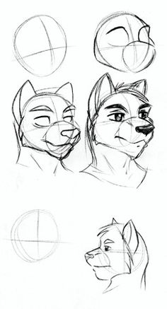 Zengels tutorial furry heads by zengel on deviantart drawing how to draw anthro heads ccuart Choice Image