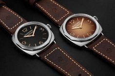 Panerai Radiomir 3 Days Acciaio special edition watches - two dials are available: a black dial on the PAM00685 model and a shaded brown dial on the PAM00687 model.  More @ http://www.watchtime.com/wristwatch-industry-news/watches/panerai-radiomir-3-days-acciaio-47mm/ #panerai #watchtime #menswatches