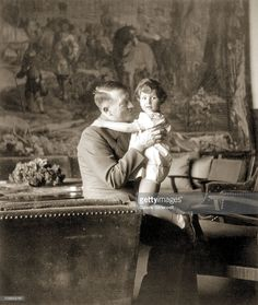 Adolf Hitler (1889 - 1945) and Uschi (Ursula) Schneider, the daughter of Herta Schneider, a close childhood friend of Eva Braun, at the Berghof, Berchtesgaden, Germany, 1942. Herta Schneider and her children spent a great deal of time at Hitler's residence.