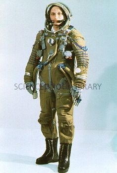 Russian cosmonaut wearing a Strizh space suit