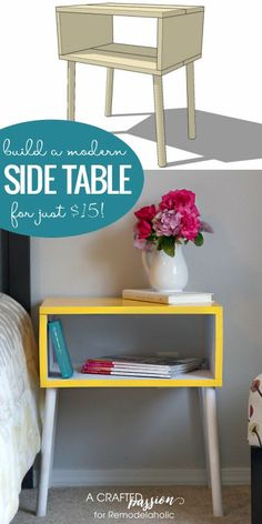 Build a DIY modern side table for just $15 with this easy tutorial and building plan @Remodelaholic