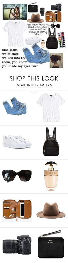 """""""White tshirt, blue jeans, hazel eyes... Be a queen"""" by youngsmile ❤ liked on Polyvore featuring Topshop, adidas, STELLA McCARTNEY, Chanel, Prada, rag & bone, Nikon, Acne Studios and Homage"""