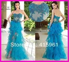 Turquoise Organza Ruffles High Low Beaded Lace Graduation Evening Dresses E2141