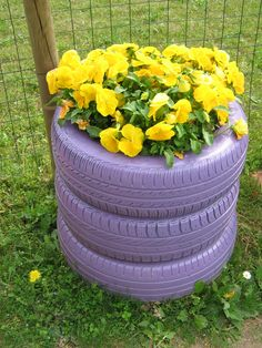 gomme riciclate come fioriere alternative recycled tires flowerpower