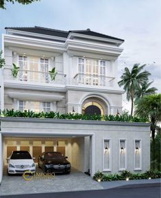 Indra Private House Design - Jakarta Barat- Quality house design of architectural services, experienced professional Bali Villa Tropical designs from Emporio Architect. Modern Exterior House Designs, Classic House Exterior, Classic House Design, Dream House Exterior, Modern Architecture House, Modern House Plans, Modern House Design, Exterior Design, Modern House Facades