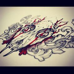 cat skull tattoo 2 by foxxmax.deviantart.com on @deviantART #remiismeltingdots