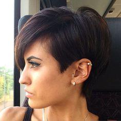 Long Brunette Pixie Haircut