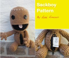 Sackboy Pattern Crochet Amigurumi Open Mouth Zipper by amiamour, $5.00