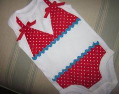 Bikini applique onesie, classic red polka dot and turquoise ric rac trim, short sleeve