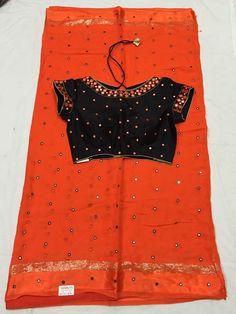 Elegant Designer Fancy Sari Blouse Designs - The Handmade Crafts Half Saree Designs, Silk Saree Blouse Designs, Fancy Blouse Designs, Blouse Neck Designs, Blouse Patterns, Dress Designs, Mirror Work Blouse Design, Stylish Blouse Design, Elegant Saree