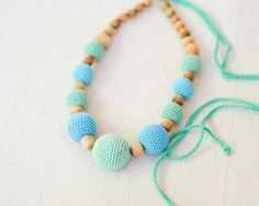 Mint & Bright Blue Nursing Necklace by Kangaroo by KangarooCare