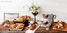 buffet brunch ideas   ... breakfast table. It has a rustic flair and everything looks so