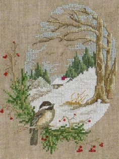 Such a sweet, peaceful cross stitched scene