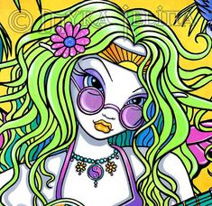 """Title: """"Melody"""" Musical Rainbow Hippie Guitar Fairy X inch prints sold directly from the artist Myka Jelina. Details: This listing is for one hand signed X inch print. Sold by the art. Hippie Trippy, Hippie Art, Hippie Chick, Fairy Original, Hippie Flowers, Guitar Painting, Gothic Fairy, Fairy Art, Canvas Prints"""