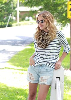 Late Summer Style wearing Old Navy striped tee, Sole Society Leopard Print Scarf, Nordstrom distressed denim shorts and suede ankle boots