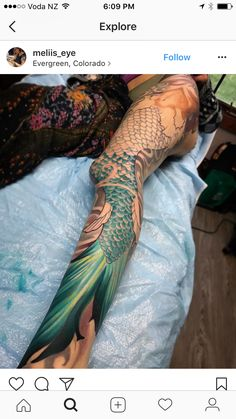 Mermaid tail fin & scales started in Danielle's full leg session today! She sat so well even in the toughest parts🙏🏻 I'm always inspired by my clients, since I too know how it feels. Can't wait to continue 🖤 Future Tattoos, Love Tattoos, Beautiful Tattoos, Body Art Tattoos, New Tattoos, Arrow Tattoos, Friend Tattoos, Tattos, Mermaid Tail Fin