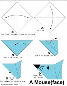 mouse(face) - Easy Origami instructions For Kids