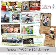 Believe 4x8 Slimline Christmas Card Collection - FotoTale Designs #photoshop #template #photographer #Christmas #card #custom