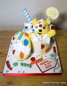 Children in Need Pudsey Bear cake, donated to my son's school cake sale Children In Need Cakes, School Cake, School Fundraisers, Fashion Cakes, Bear Cakes, Cute Cakes, Fundraising, Party Planning, Charity