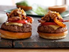 Chuck's Best Hamburger Recipe | Chuck tops his decadent burgers with bacon,caramelized onions,lettuce,tomato and homemade ranch dressing. | Cooking Channel