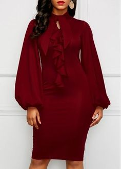 Wine Red Lantern Sleeve Cutout Sheath Dress.