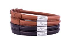 Rolled Leather Dog Collar OPTIONAL ID TAG Extra by CollarDirect