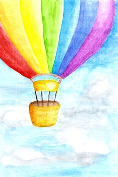 watercolor hot air balloon--on a dresser front Kids Canvas, Diy Canvas Art, Hot Air Balloon, Balloon Balloon, Balloon Painting, Oil Pastel Drawings, Art Drawings For Kids, Rainbow Art, Art Plastique