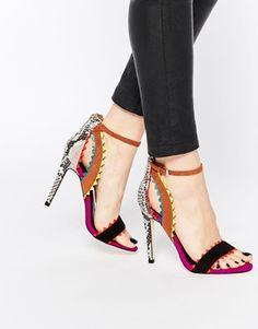 Sandalias multicolor de efecto piel de serpiente Fanfare de Miss KG