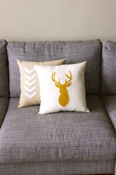 Mustard & Natural Decorative Deer Pillow Cushion  - Deer Head Buck 14X14 - yellow and beige. $38.00, via Etsy.
