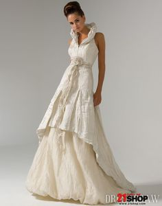 Amazing A-line Halter Ruched Two-layer Floor-length Chapel Flower Wedding Dresses $200.39