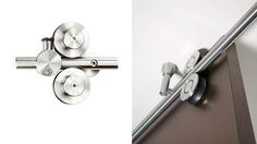 MWE Twin – Modern Barn Door Hardware is suitable for single or double bi-parting applications. The rail may be mounted to the wall, ceiling or stationary glass. Twin's double wheel design allows the door to reach from floor to ceiling making this most appropriate for ceiling mounted installations. Twin hardware is for use on wood doors.  Maximum weight capacity per (2) carriers is 298 Lbs. (2) carriers per door only.