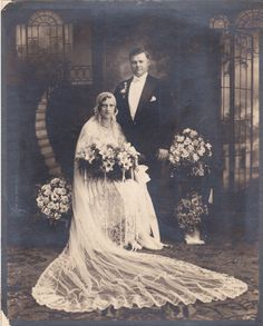 Bride and Groom Vintage Wedding Photo
