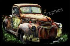 Antique Truck Truck collectors Fathers Day Gift by LitlBlumers, $325.00