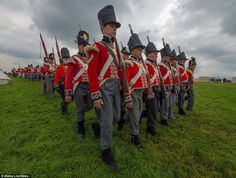 R-enactors match on the Waterloo battlefield near Brussels in Belgium as the 200th anniver...