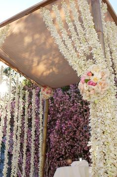 Outdoor wedding altar is draped with strands of white orchids tied back with pomanders of pink roses. Wedding Ceremony Ideas, Wedding Altars, Ceremony Decorations, Decor Wedding, Mod Wedding, Elegant Wedding, Floral Wedding, Wedding Flowers, Dream Wedding
