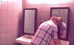 Man Is Washing His Hands In A Club's Restroom, Now Keep Your Eyes On The Mirror, You'll Be Speechless. Intoxicated driving is a progressing issue in today's way of life. This PSA brings you responses from supporters at a bar lavatory who are confronted Dont Drink And Drive, Look In The Mirror, His Hands, Way Of Life, Hand Washing, Night Club, Prison, Drinking, Bar