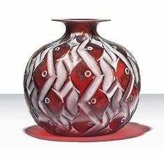 PENTHIÈVRE VASE, NO. 1011 designed 1928, deep amber and white stained, engraved R. Lalique France