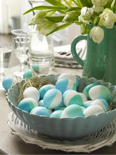 Easter eggs colored with blue & green.