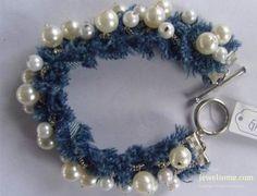 Denim_Bracelet_with_Pearl_Chain. No tutorials, but some fabulous ideas. Jewelry Crafts, Jewelry Art, Beaded Jewelry, Handmade Jewelry, Jewelry Design, Beaded Bracelets, Fabric Bracelets, Textile Jewelry, Fabric Jewelry