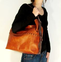 Leather purse Large Hobo Bag Brown Shoulder Purse by Percibal, $195.00